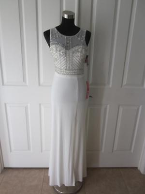 NWT Morgan & Co White Beaded Bodice Sheer Back Evening Prom Gown Dress Sz 5 (Beaded Sheer Prom Dress)