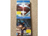 Blu-ray DVDs. Man of steel and Pacific rim