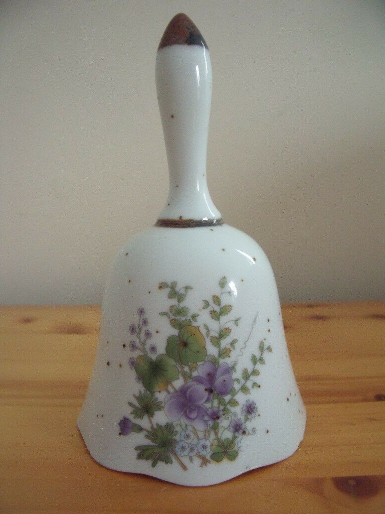 Pretty china bell with purple and green flower & leaf design by Eurocraft, Japan. Great condition.