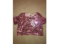 Pink sequin cropped top