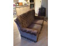 Retro brown fabric sofa