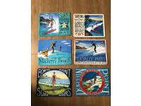 Retro surf / surfing placemats x 6