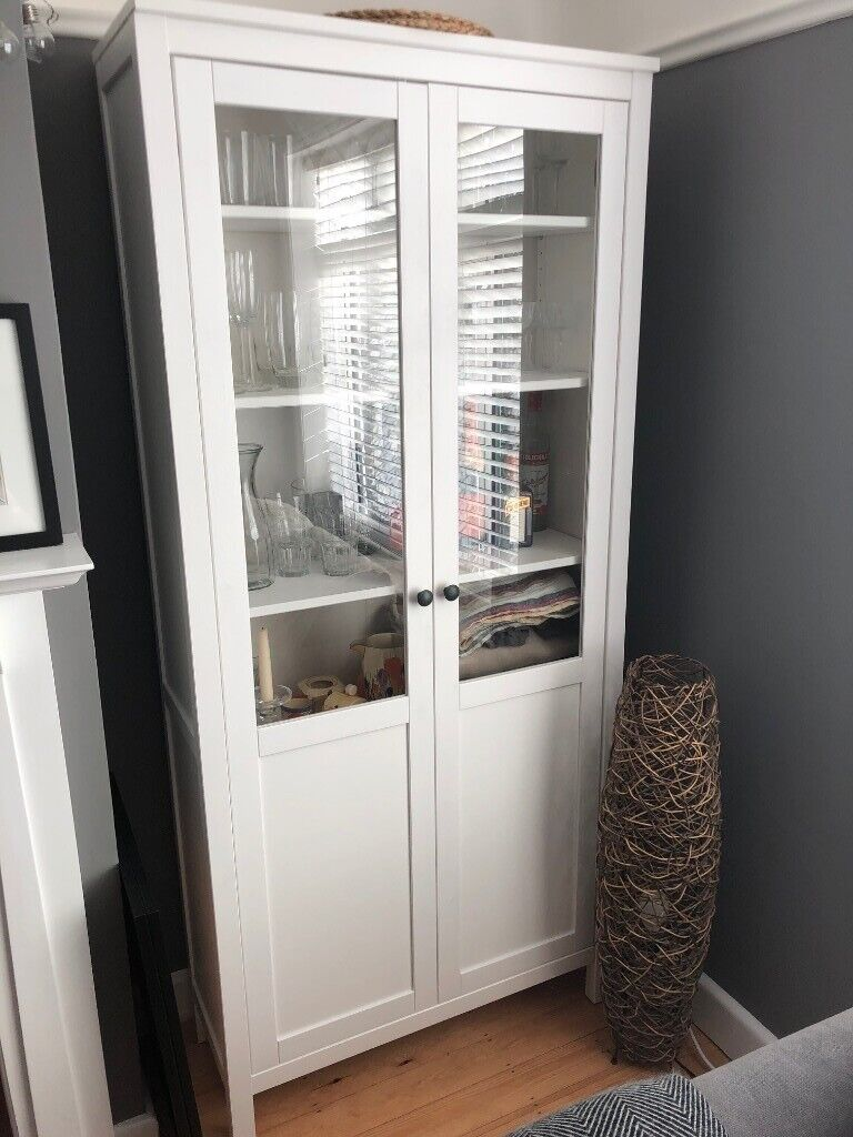 White IKEA Hemnes Dining Room Cabinet With Panel Glass Door New