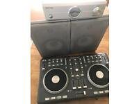 Numark mixtrack pro, kam amplifier, kam twin speakers