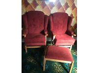 Arm chairs with foot stool
