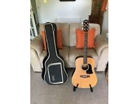 Aria AW-130SQ pro2 electro acoustic drednought guitar with bag and stand