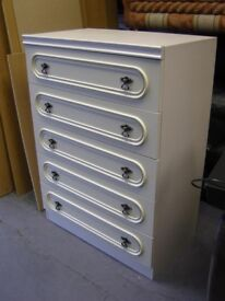 Large White 5 Drawer Chest Tallboy. Good Condition