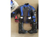 Childs motorcycle clothing, jacket, trousers