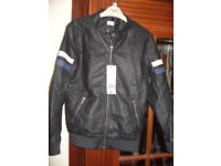 new with labels boys 9to10years old leather look zipped jacket