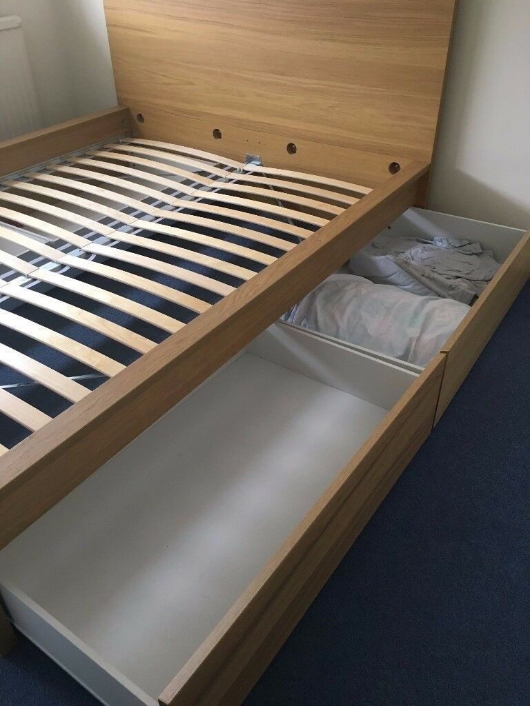 IKEA High Bed Frame With 4 Storage Boxes