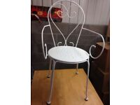 Bedroom/Garden/Study - Attractive Heart Backed Versatile White Metal Chair - Country Cottage Style