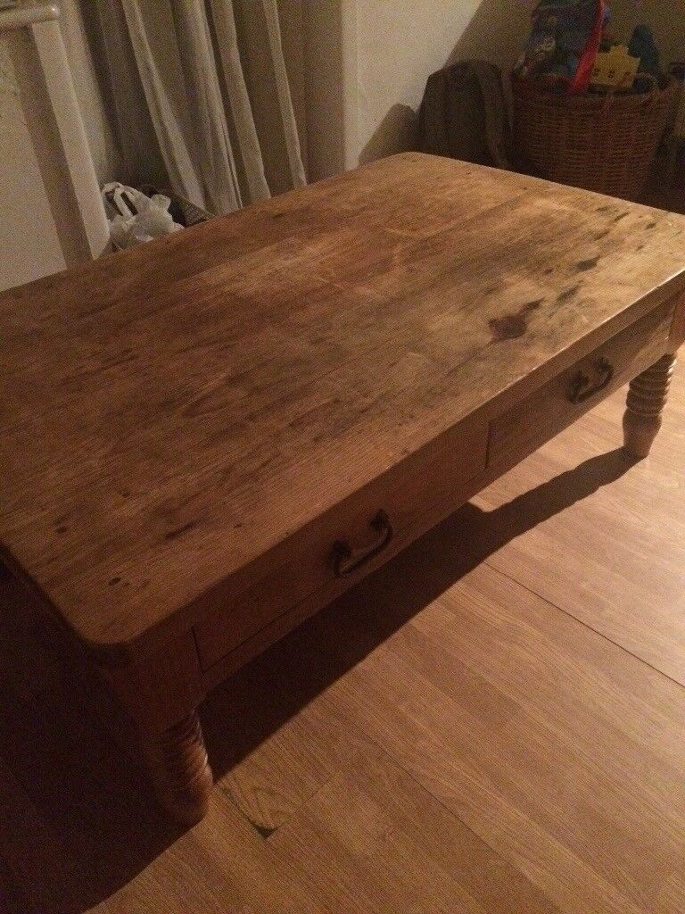Large solid wood coffee table