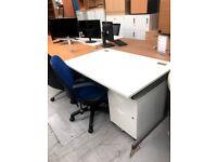Boss White Desk and Under Desk Pedestal