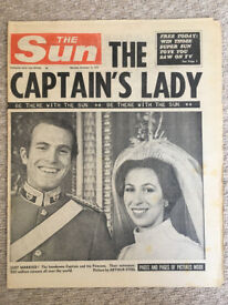 Vintage, 15th November 1973, The Sun newspaper, marriage of Princess Anne and Captain Mark Phillips.