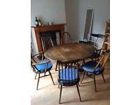 Drop Leaf Ercol Table & 5 Ercol Goldsmith Chairs