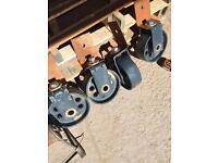 Set of 4 large heavy cast iron castors