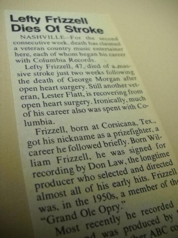 LEFTY FRIZZELL Dies Of Stroke original detailed 1975 music biz promo trade story