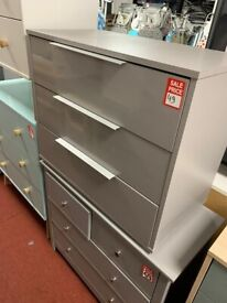 Grey gloss 3 drawer chest