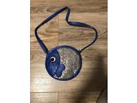 Girls blue cross body bag, fish shape