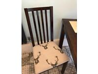 Square dinning table and 4 chairs just been upholstered