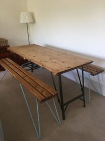 *** Price reduction*** VINTAGE FOLDING DINING TABLE + 2 HAIR PIN LEGS BENCHES