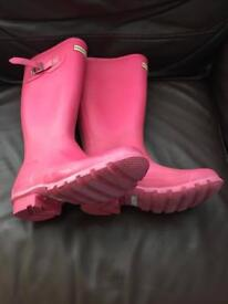 pink hunter wellies size 3