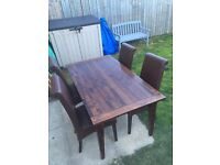 Next Solid Wood Table and Leather Chairs