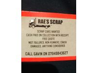 **CARS WANTED** SCRAP CARS NON RUNNERS MOT FAILURES BOUGHT FOR£££££