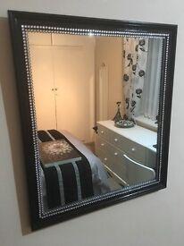 Beautiful Black Gloss Wood Frame Bling Mirror | 50cm x 45cm | Girls Bedroom | Living or Dining Room