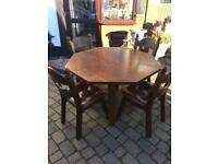 Dutch? Very heavy solid oak table and chairs.