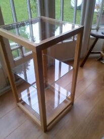 beautiful vintage wooden display unit with glass shelves for home or a shop
