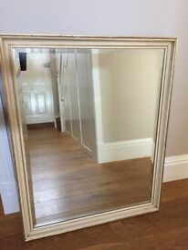 Large antique white heavy mirror