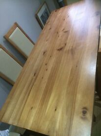 Acacia wood dining room table & 6 chairs