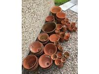 Huge lot of vintage terracotta plant pots Hand thrown Garden Flowers Herbs Sankey Bulwell