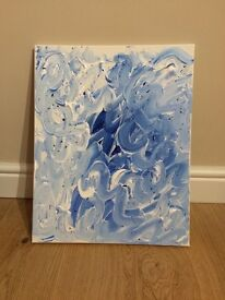 Contemporary blue hand painted canvas