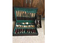 Brass and Rosewood Cutlery Set