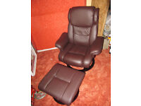 Swivel Recliner Chair & footstool. Brown faux Leather.