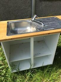 Stainless sink with white 800 mm base unit and pine worktop