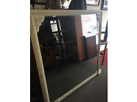 """Outstanding Huge White Vintage Shabby Chic Over-mantle Wall Mirror - Size 54""""x 56"""""""