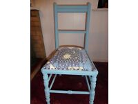 Small Edwardian Bedroom Chair, newly painted and recovered.