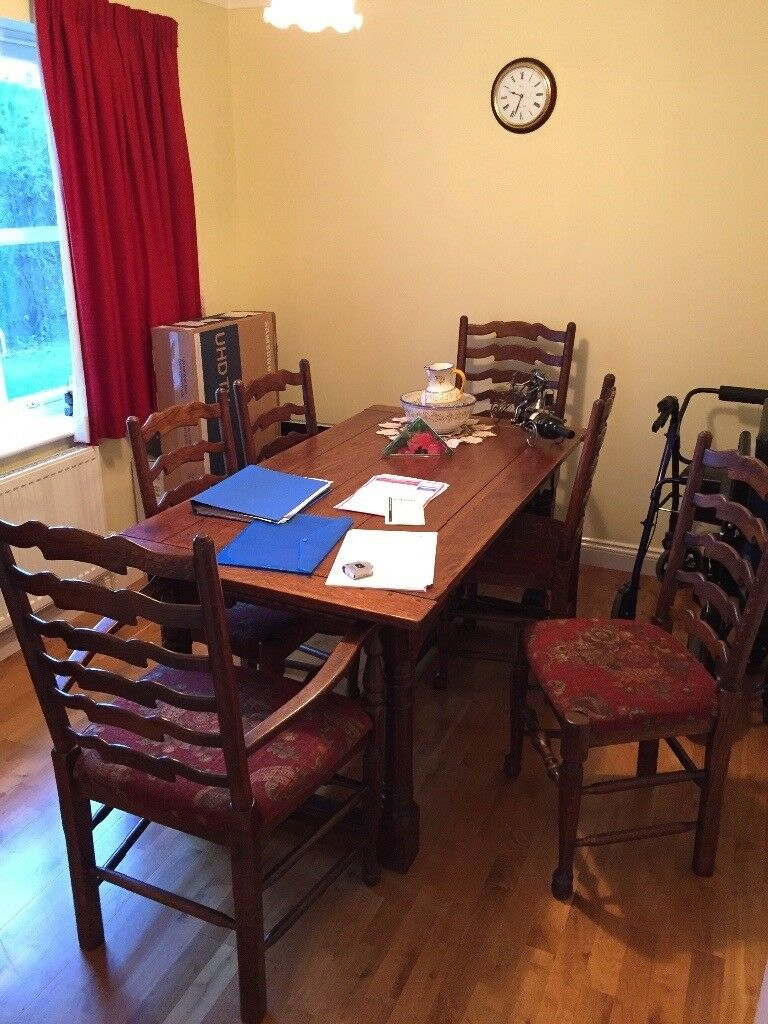 Multiyork Dining Table c/w 6 chairs and sideboard in dark oak as new ...