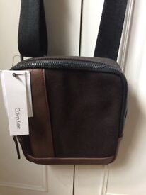 Brand new Brown Calvin Klein small man's reporter bag