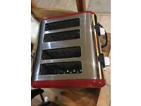Red Russell Hobbs kettle and toaster