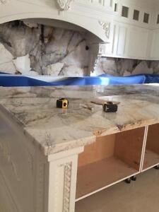 Kitchen Countertop with Granite and Quartz $25 per sqft labor