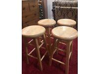 4 Light oak kitchen stools - reduced