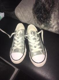 Girls silver glitter converse size 12