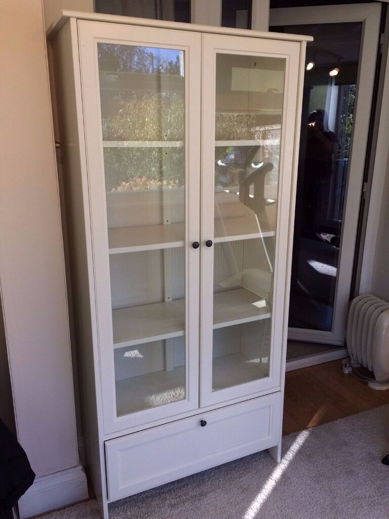 Ikea Hemnes Bookcaseshelving Unit With Glass Doors And Drawer In