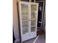 Ikea hemnes bookcase/shelving unit with glass doors and drawer