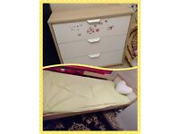 Children's bed plus mattress with matching chest of drawers