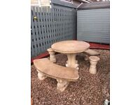 Stone garden table and chairs